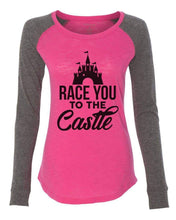 "Womens ""Race You To The Castle"" Long Sleeve Elbow Patch Contrast Shirt X-Small Womens Tank Tops Pink"