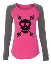 "Womens ""Skull"" Long Sleeve Elbow Patch Contrast Shirt X-Small Womens Tank Tops Pink"