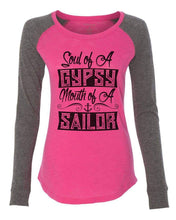 "Womens ""Soul Of A Gypsy Mouth Of A Sailor"" Long Sleeve Elbow Patch Contrast Shirt X-Small Womens Tank Tops Pink"