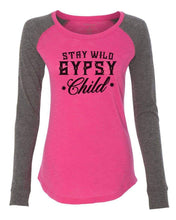 "Womens ""Stay Wild Gypsy Child"" Long Sleeve Elbow Patch Contrast Shirt X-Small Womens Tank Tops Pink"