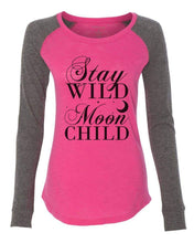 "Womens ""Stay Wild Moon Child"" Long Sleeve Elbow Patch Contrast Shirt X-Small Womens Tank Tops Pink"