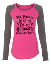 "Womens ""Still Patiently Waiting For My Hogwarts Acceptance Letter"" Long Sleeve Elbow Patch Contrast Shirt X-Small Womens Tank Tops Pink"