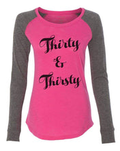 "Womens ""Thirty & Thirsty"" Long Sleeve Elbow Patch Contrast Shirt X-Small Womens Tank Tops Pink"