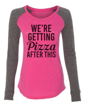 "Womens ""We're Getting Pizza After This"" Long Sleeve Elbow Patch Contrast Shirt X-Small Womens Tank Tops Pink"