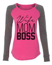"Womens ""Wife Mom Boss"" Long Sleeve Elbow Patch Contrast Shirt  Womens Tank Tops"