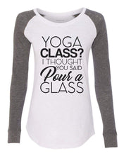 "Womens ""Yoga Class? I Thought You Said Pour A Glass"" Long Sleeve Elbow Patch Contrast Shirt X-Small Womens Tank Tops Pink"