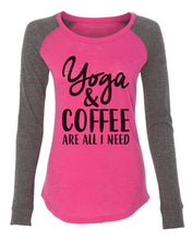 "Womens ""Yoga & Coffee Are All I Need"" Long Sleeve Elbow Patch Contrast Shirt X-Small Womens Tank Tops Pink"