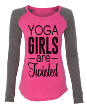 "Womens ""Yoga Girls Are Twisted"" Long Sleeve Elbow Patch Contrast Shirt X-Small Womens Tank Tops Pink"