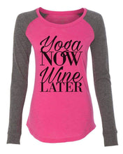"Womens ""Yoga Now Wine Later"" Long Sleeve Elbow Patch Contrast Shirt X-Small Womens Tank Tops Pink"
