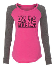 "Womens ""You Had Me At Merlot"" Long Sleeve Elbow Patch Contrast Shirt X-Small Womens Tank Tops Pink"