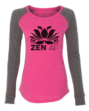 "Womens ""Zen Af"" Long Sleeve Elbow Patch Contrast Shirt X-Small Womens Tank Tops Pink"