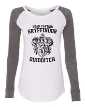"Womens ""Team Captain Gryffindor Ouidditch"" Long Sleeve Elbow Patch Contrast Shirt X-Small Womens Tank Tops White"