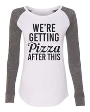 "Womens ""We're Getting Pizza After This"" Long Sleeve Elbow Patch Contrast Shirt X-Small Womens Tank Tops White"