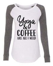 "Womens ""Yoga & Coffee Are All I Need"" Long Sleeve Elbow Patch Contrast Shirt X-Small Womens Tank Tops White"