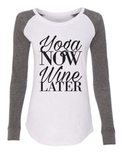 "Womens ""Yoga Now Wine Later"" Long Sleeve Elbow Patch Contrast Shirt X-Small Womens Tank Tops White"
