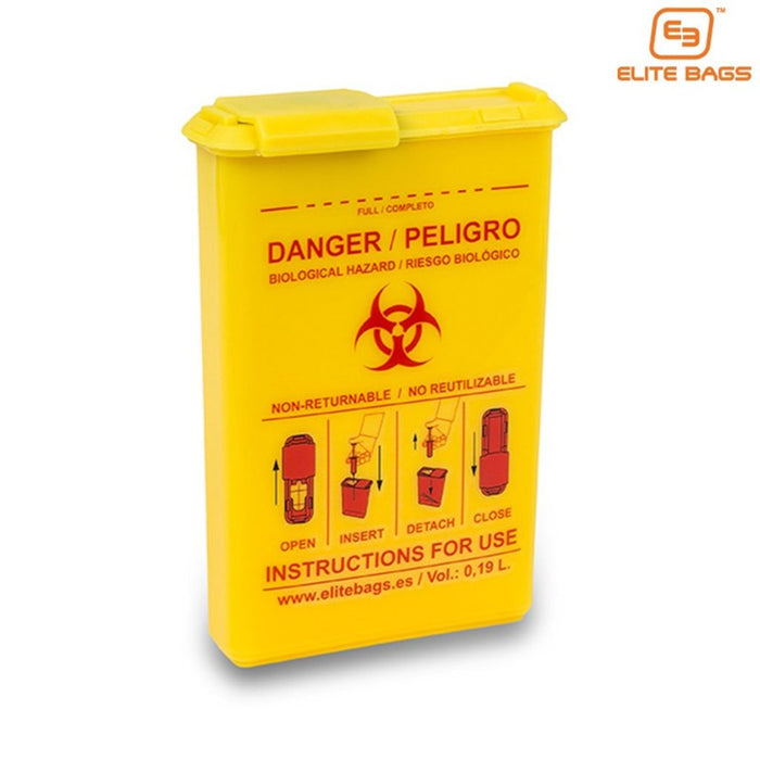 Disposable, Compact Biohazard Container with high visibility color for use in EMS, EMT and medical bags and cases.