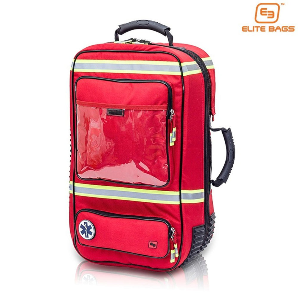 EMS Rescue Backpack large capacity bag with oxygen cylinder compartment, adjustable straps and high visibility materials.