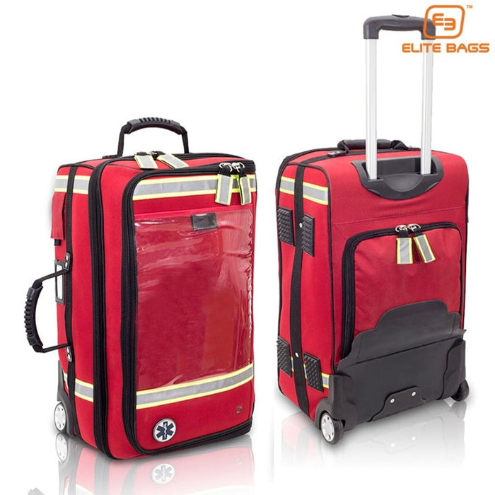 Large Capacity, Rolling  Bag with oxygen cylinder compartment that converts to backpack, is durable and expandable.