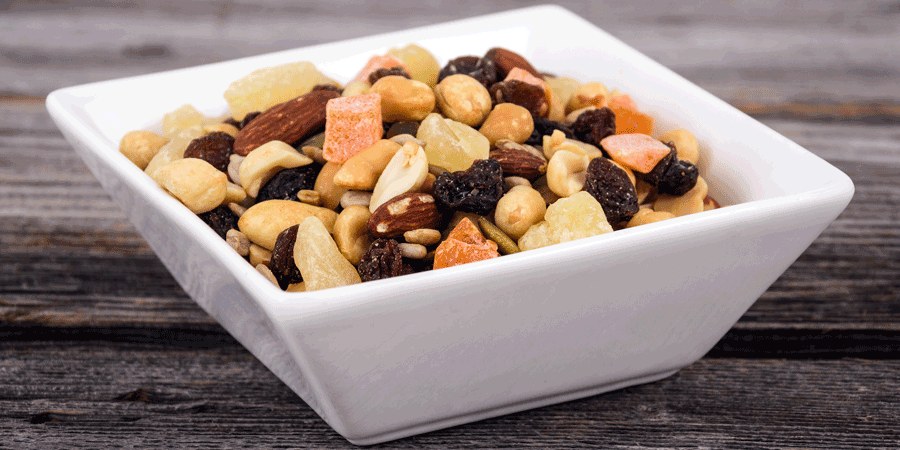 healthy almond and trail mix snack