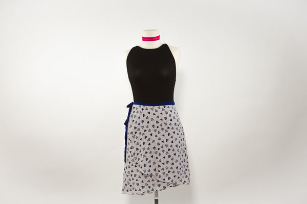 Blue hearts dance skirt long length