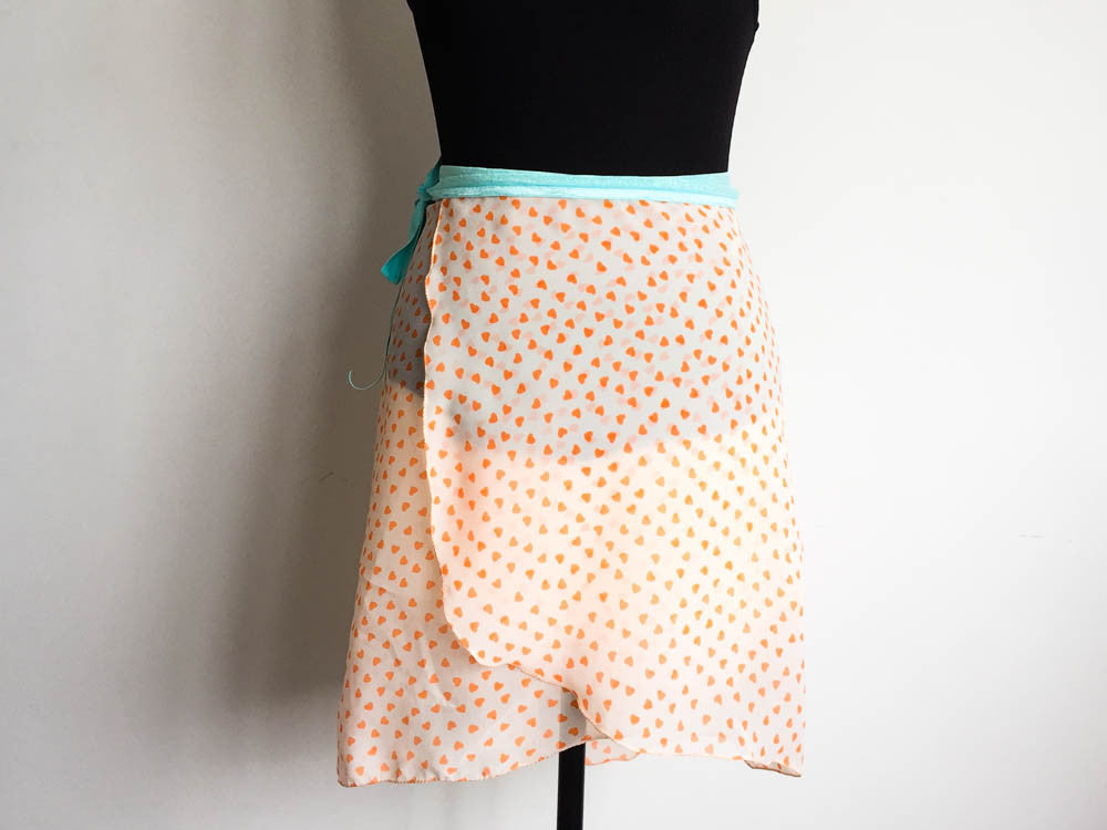 Orange hearts dance skirt long length