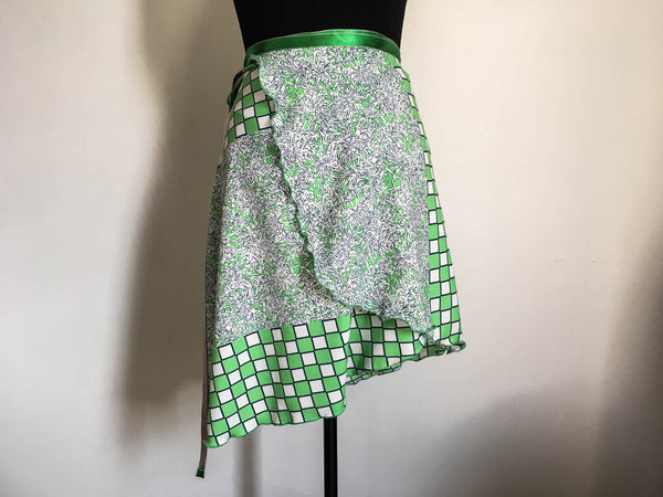Green check and flowers dance skirt. Long length.