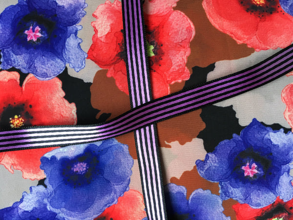 Poppies with purple stripes ribbon