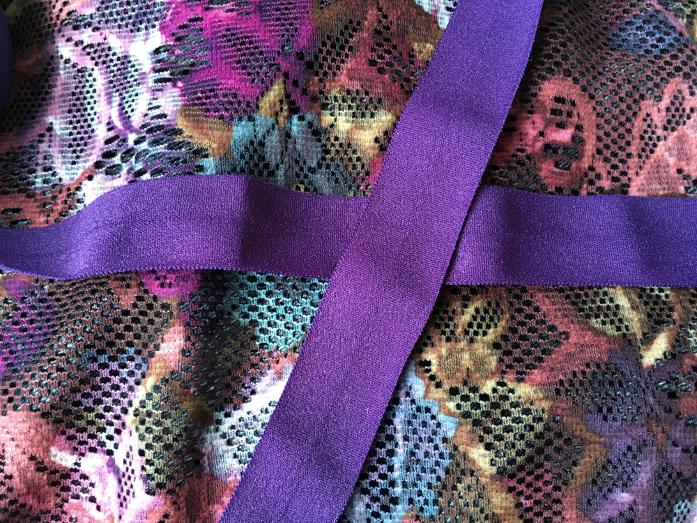 Purple flowery mesh with purple ribbon