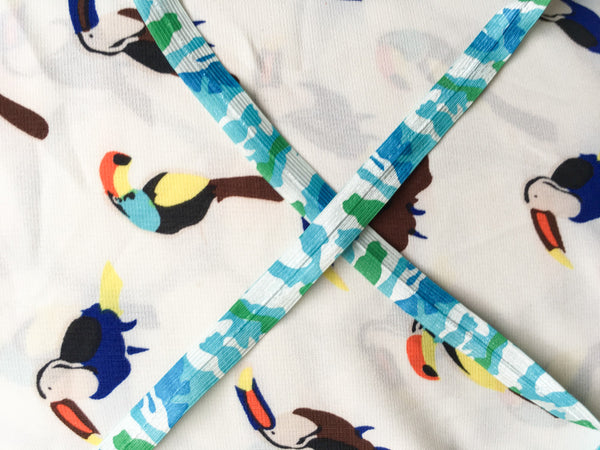 Toucans with blue cammo ribbon