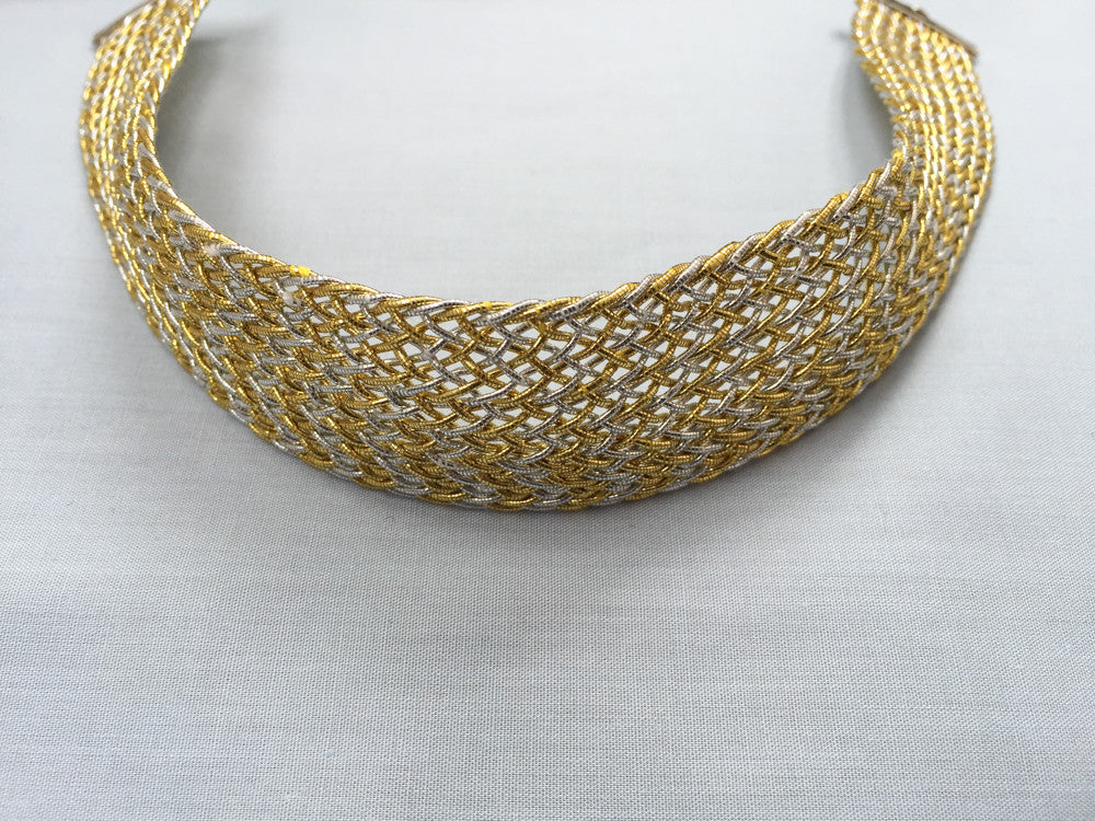Knitted golden and silver mesh choker