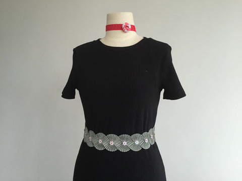 Velvet with hand sewn flower embellishments belt