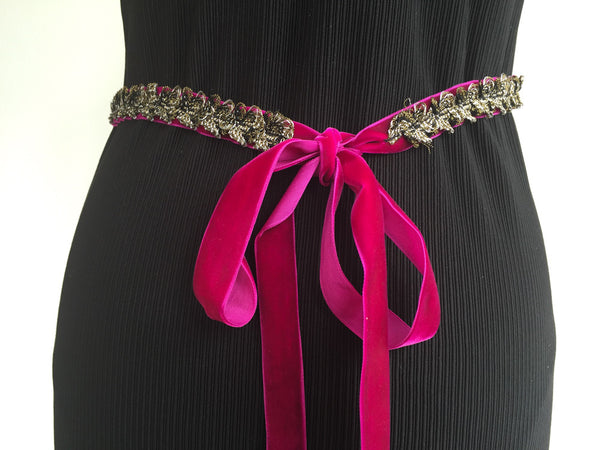 Deep purple velvet with golden trim belt