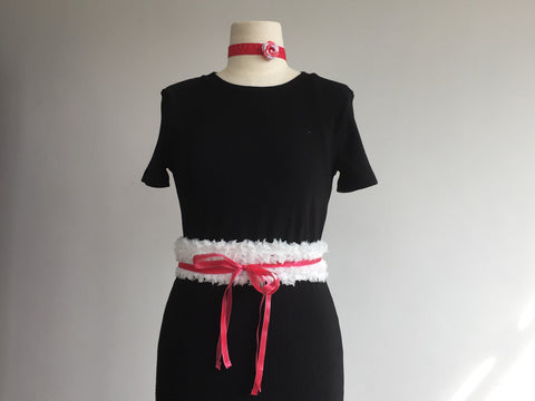 Cotton clouds with pink ribbons belt