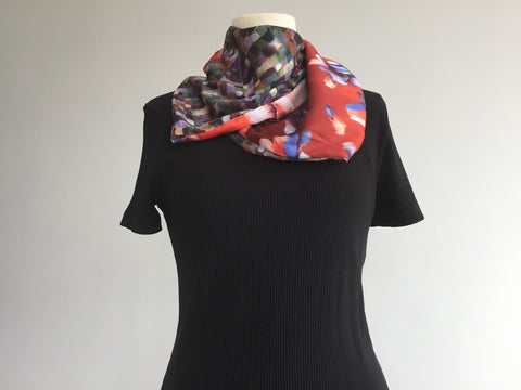 Mosaic double-sided satin scarf