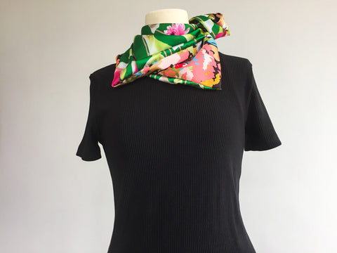Green tulip garden double-sided satin scarf