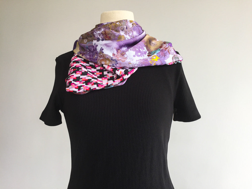 Light purple wild painsy garden double-sided satin scarf