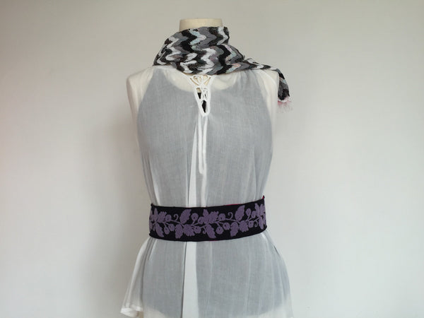 Purple velvet flowers belt