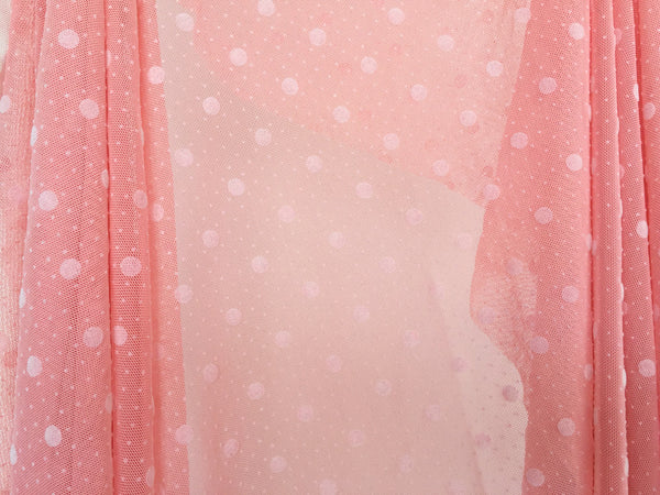 Pink polka dots mesh with white ribbon