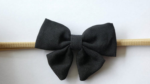 Linen Bow Headband - Nero