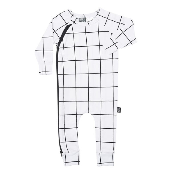 Long Sleeve Baby Zip Romper - White Check