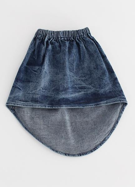 Dipped Denim Mini Skirt - Blue Denim