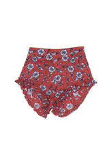 Frill Leg Shorts - Red Floral