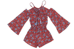 Long Sleeve Jumpsuit - Red Floral