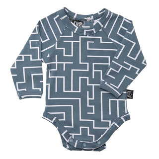 Long Sleeve Onesie - Maze Sea/white