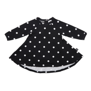 Long Sleeve Spin Dress - Dot It Black/White
