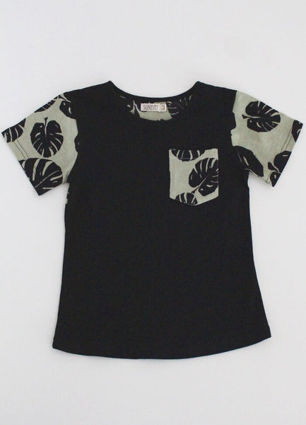 Black T-Shirt with Monstera Pocket