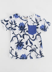 Blue Floral T-Shirt with Blue Pocket