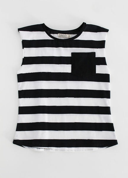 Black Stripe Cut Off Tee