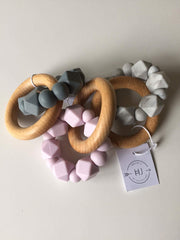 Hex Silicone and Beech Wood Teether - Purple