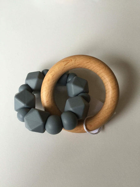Hex Silicone and Beech Wood Teether - Grey
